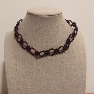 Red and burgundy choker necklace